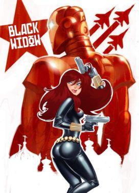 Black Widow vintage USSR poster