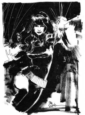 Black Widow black and white sketch by Bill Sienkiewicz