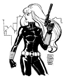 Black Widow black and white sketch by Cliff Chiang