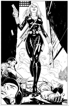 Black Widow black and white sketch