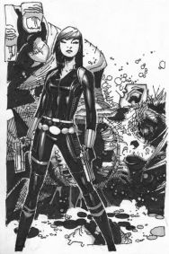 Black Widow black and white art