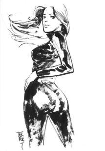 Black Widow black and white sketch