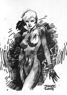 Black Widow black and white sketch by Jim Lee