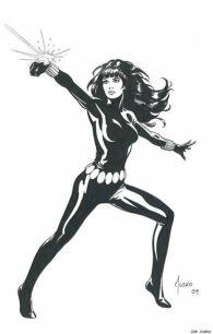 Black Widow black and white sketch by Joe Jusko
