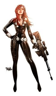Black Widow color art by Marcio Takara