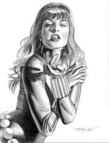 Black Widow black and white sketch by Mayhew
