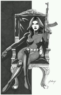 Black Widow black and white sketch by Paul Gulacy