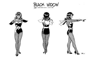 Black Widow black and white sketch by Paul Smith
