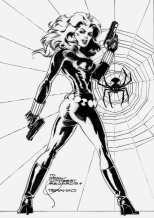 Black Widow black and white sketch by Steranko