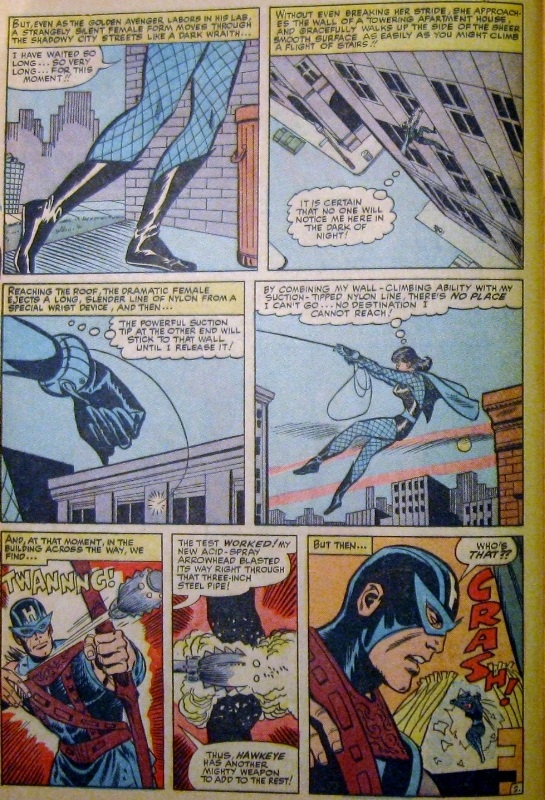 Panel art, first appearance of Black Widow in original costume