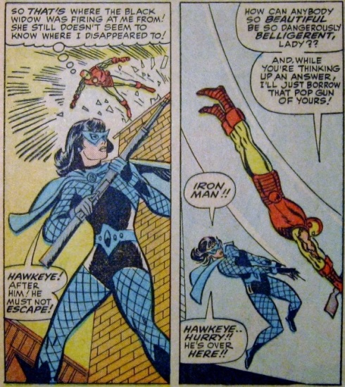 Panels from Tales of Suspense 64: Iron Man attacks Black Widow