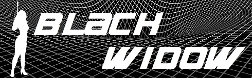 Black Widow graphic with gravity well in black