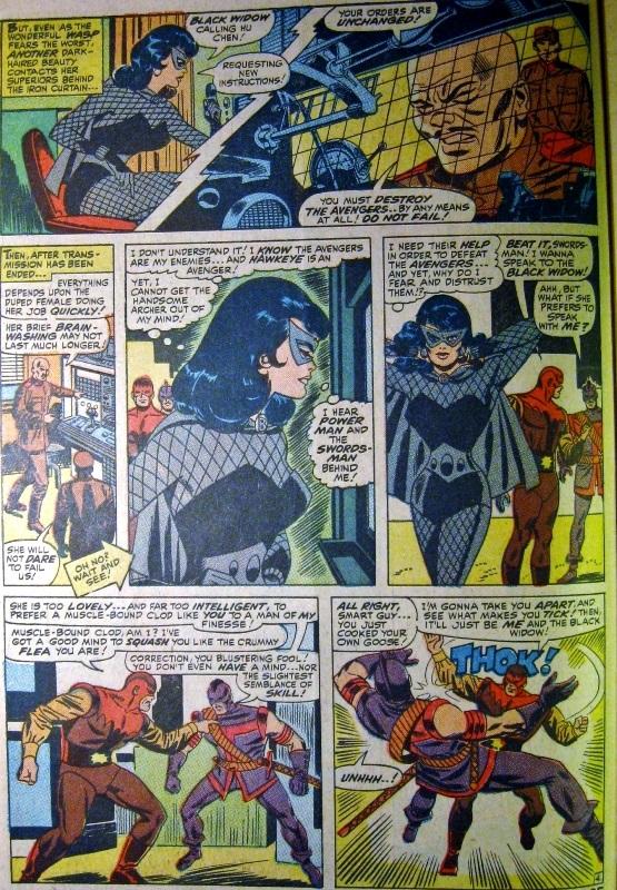Panel art from Avengers 30, Black Widow in original costume