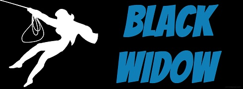 Title with outline of Black Widow in her original costume