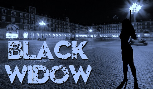 Black Widow photographic art in city at night