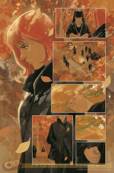 Black Widow in the fall art by Phil Noto