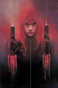 Black Widow holding hand guns by Phil Noto