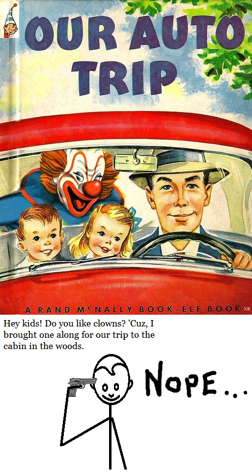 Clown in the backseat of a car