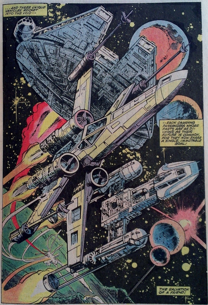 Three ships: Luke's X-Wing, a Y-Wing, and the Millennium Falcon by Gene Day