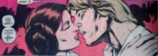 Princess Leia kisses Luke Skywalker